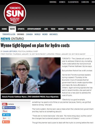 Wynne Tight-Lipped on Plan for Hydro Costs