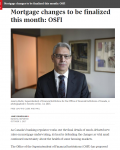 Mortgage changes to be finalized this month: OSFI