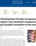 Export Development Canada recognizes three of the nation's top cleantech companies bringing Canadian innovation to the world