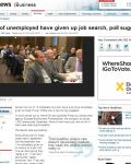 39% of unemployed have given up job search, poll suggests